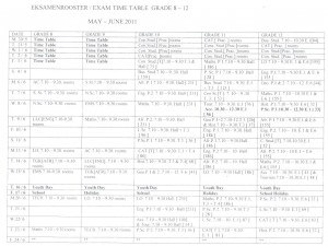 Exam Time Table Grade 8-12 May - June 2011 - Vorentoe High